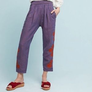 Anthropologie Linen Crop Purple Embroidered Pants